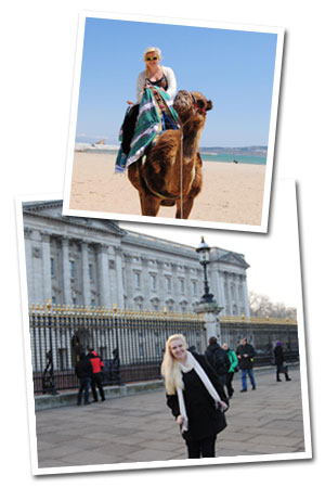 Photos of Shannon Atwell in London and riding a camel