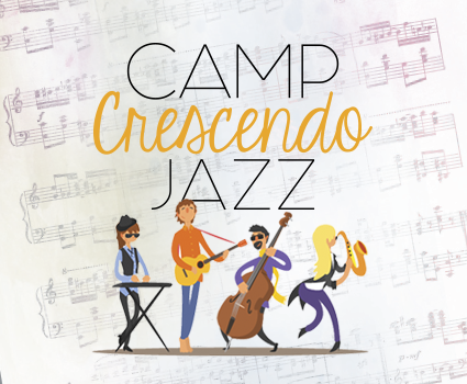 camp crescendo jazz graphic with musicians