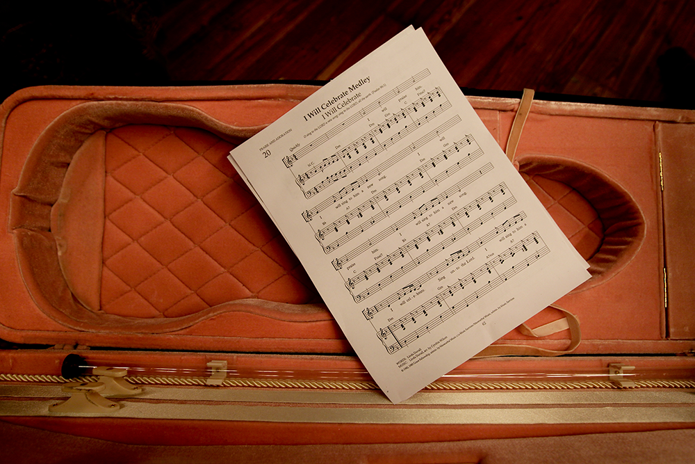 sheet music in violin case